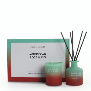 As Simple As Color Collection Moroccan Rose&Fig 60g Scented Candle and 50ml Reed Diffuser Set