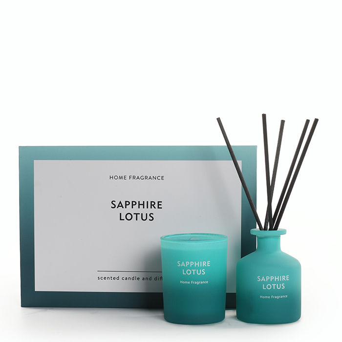 As Simple As Color Collection Sapphire Lotus 60g Scented Candle and 50ml Reed Diffuser
